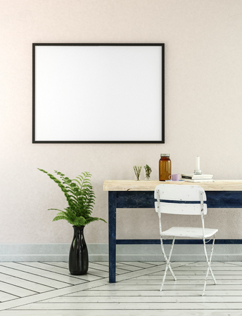 Home office 3D illustration with potted fern plant, wooden desk and little white folding chair near empty picture frame Stock Photo