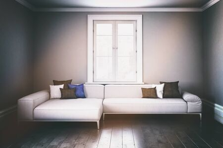 living room window: 3D render of large single modular living room sofa with window in center of wall