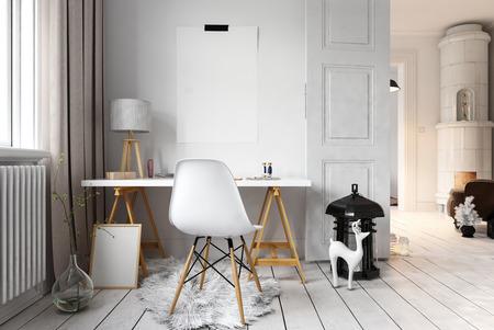 altillo inconformista linda con la pequeña escultura de renos al lado del escritorio simple y silla. representación 3D