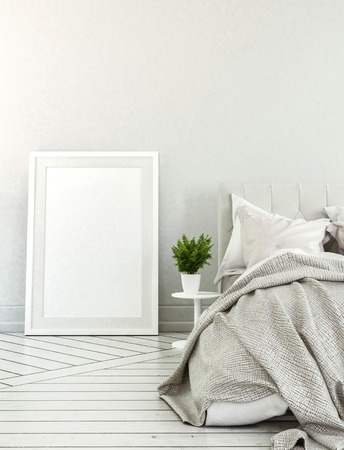 bedroom wall: 3D rendered bedroom with neutral color scheme, large empty picture frame and messy bed beside potted plant