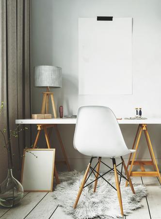 화이트 모피 양탄자와 현대 스칸디나비아 인테리어 디자인의 간단한 책상. 3D 렌더링. 스톡 콘텐츠