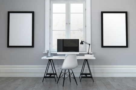 3D rendering of single desk with chair in between empty picture frames. Includes blank computer screen with copy space. Stockfoto