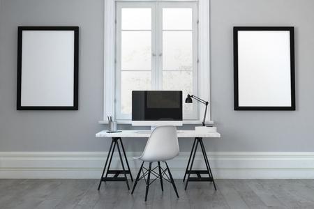 Rendu 3D d'un seul bureau avec une chaise entre des cadres vides. Comprend un écran d'ordinateur vierge avec espace copie. Banque d'images - 62734387