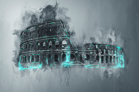 italy background: Artistic grunge watercolor painting of the Colosseum, Rome, Italy with brushstrokes, drips and colorful mint green highlights or accents on a graduated grey background