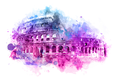 amphitheatre: Colorful modern watercolor painting of the Colosseum, Rome with an overlay of bright blue through purple to pink blend of brushstrokes and splash effect for a decorative card design Stock Photo