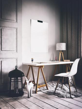 책상 옆 벽에 빈 포스터와 현대적인 스칸디나비아 스타일의 홈 오피스의 3D 렌더링