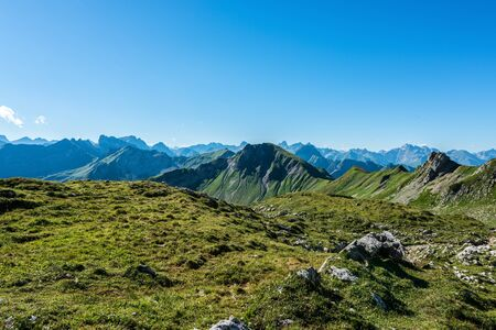 recedes: Summer time view of the Alps near Allgau in the southern portion of Germany, Europe Stock Photo