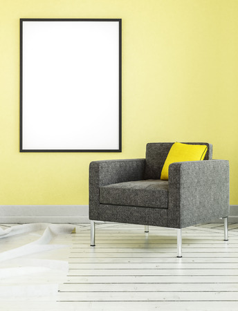 living room wall: Square shaped living room chair with yellow pillow and empty frame on matching wall. 3D rendered scene.