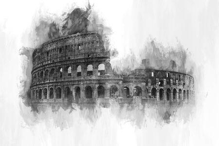 Pintura de la acuarela de la fachada exterior del Coliseo, Roma, en tonos grises con pinceladas y copia espacio en blanco de papel con textura