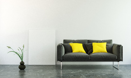 floor plant: 3D interior scene of black sofa with two square pillows, plant on dark floor and blank wall with copy space