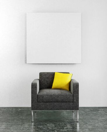 centered: Centered lounge chair with little yellow pillow and blank square frame hanging on wall. 3d Rendering. Stock Photo