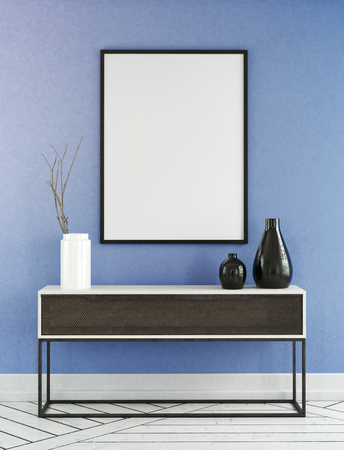 living room wall: Unique with desk in front of blue wall and empty black and white picture frame. 3d Rendering. Stock Photo