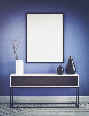 frame wall: Vignette scene with shelf in front of blue wall and empty black and white picture frame. 3d Rendering. Stock Photo