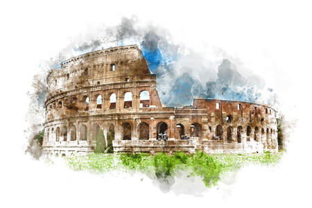 flavian: Watercolor painting of the Colosseum, Rome, Italy with a green grass foreground under a blue sky with splash and brushstrokes for a postcard travel souvenir with copy space Stock Photo
