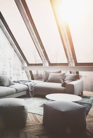 apartment living: Sun shining through fogged up windows of apartment living room interior as 3D render scene