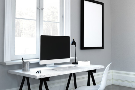 modern frame: 3D rendering of simple rectangular computer desk widescreen monitor and adjustable lamp in front of window and blank picture frame Stock Photo