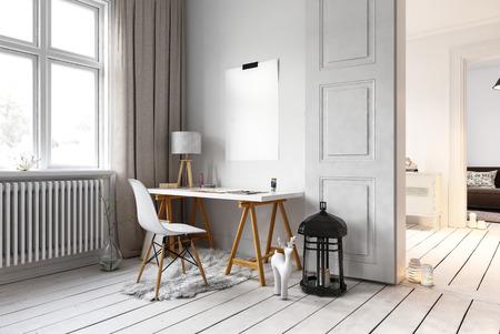 Kleiner Schreibtisch und Stuhl in Wohn-Loft mit großen Lampe auf dem Boden und Heizkörper neben Fenstern. 3D-Rendering.