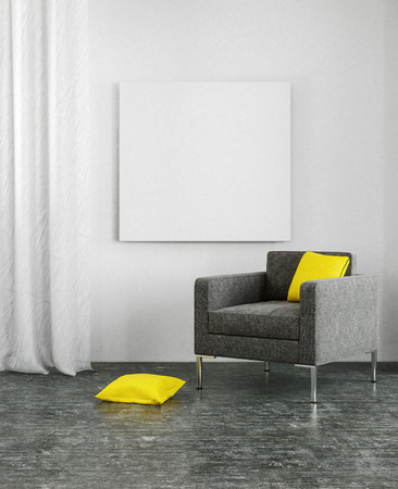 modern chair: Yellow pillows on black sofa and dark floor in 3D scene with copy space on wall and frame