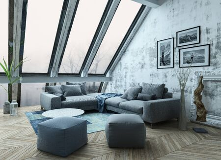 homely: Rooftop apartment interior with sofa chairs, picture frames and herringbone style hardwood floor as 3D render