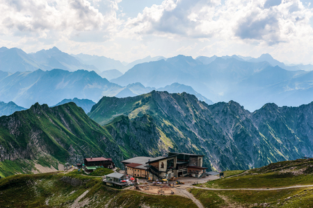 allgau: Small resort or rest area shelter in mountains known as the Alps in Allgau Germany at summer