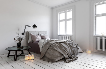 3D rendering of single messy bed in room with radiators under windows. Lit candles on hardwood floor.