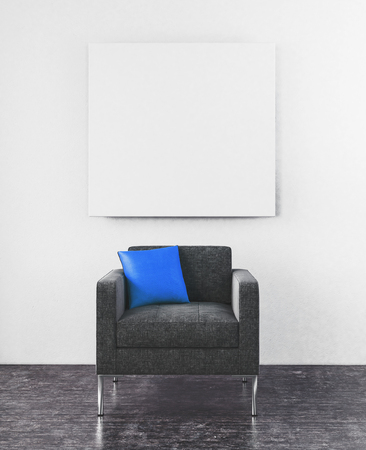 3D Rendering Scene Of Centered Sofa Chair With Little Blue Pillow And Blank  Square Frame Hanging