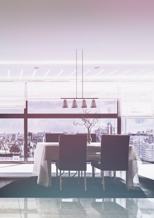 penthouse: 3D rendering of spacious dining room with marble flooring and table facing large window in condo