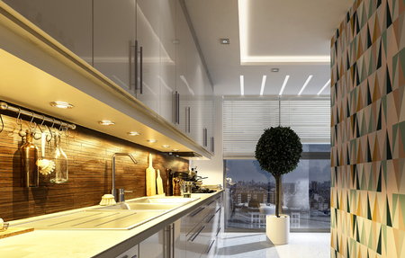 Stijlvolle, moderne keuken met geometrische accent muur, verlicht lampen naar beneden verlichting van de toonbank en toestellen en een pot topiary boom in de voorkant van een groot venster, 3D-rendering