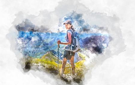 trekker: Watercolor rendering of female hiker with colorful Grosser Daumen mountains of Germany in background