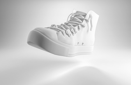 midair: 3d rendering of a white lace up sports shoe floating midair over a graduated grey background with copy space for your text