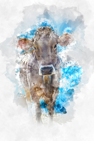 ruminant: Artistic watercolor sketch of a brown cow with brushstroke texture standing looking curiously at the viewer against a blue sky