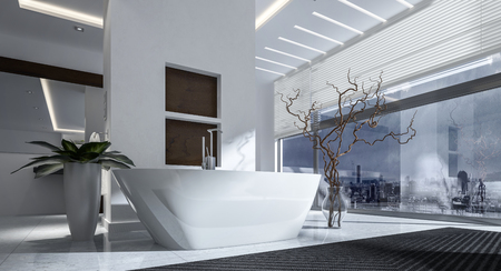 white bathroom: Contemporary white boat-shaped bath tub in a modern stylish bathroom interior with glass wall view window overlooking a city in monochrome decor, 3d rendering