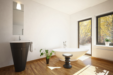 patio chair: 3D rendering of bright sunlight entering luxury bathroom through window and doorway Stock Photo