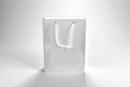 handles: 3d rendering of a blank plain white paper shopping bag with string handle and copy space for your branding or advertising text or template