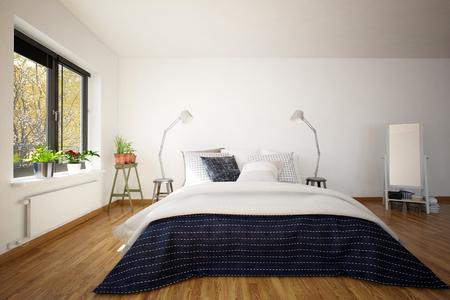 divan: Grande de matrimonio sofá-cama en un dormitorio interior moderno con un suelo de parquet de madera, ventanas y un espejo de pie, representación 3D Foto de archivo