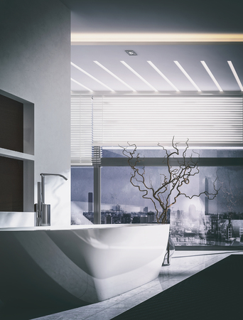 3D rendering interior of luxury modern bathroom with large tub, dried wood plant in vase and window blinds on large spacious windows