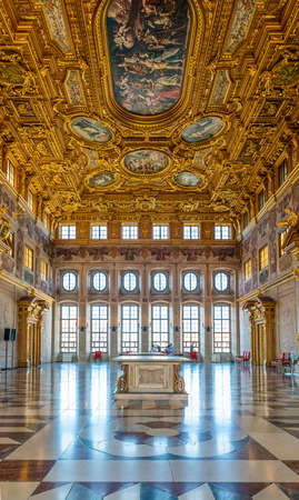 Augsburg, Germany - September 08, 2016: Bright sunlight coming through large windows at end of the famous Golden Hall in Augsburg, Germany Editorial