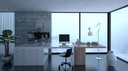 home office interior: 3d rendering of small home office interior at luxury home with wide desk. Watery scene in background through windows. Stock Photo