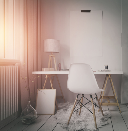 modern apartment: Simple modern workspace in an apartment or loft with a small corner table and chair alongside a sunlit window with warm glow, blank frame and poster with copy space in a 3d render Stock Photo