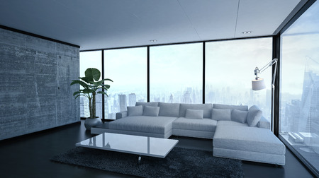 condo: 3D render of empty spacious living room with modular sofa, lamp, table and large plant