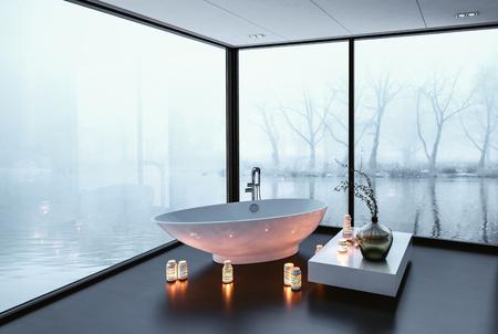 Prachtige moderne badkamer met een panoramisch wrap around uitzicht ramen met uitzicht op een rustige winter meer en een vrijstaande bootvormige bad omringd door brandende kaarsen, 3D-rendering hoek perspectief