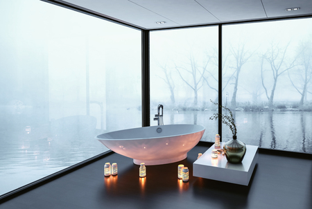Stunning modern bathroom with panoramic wrap around view windows overlooking a tranquil winter lake and a freestanding boat-shaped tub surrounded by burning candles, 3d rendering corner perspective