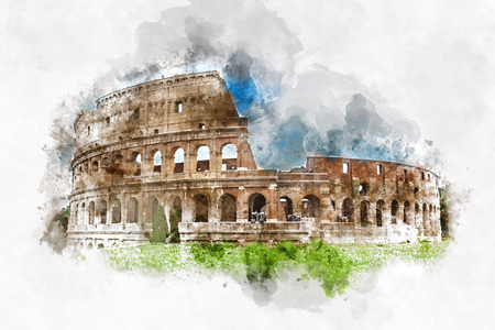 Colored watercolor sketch of the Colosseum, Rome, Italy with brush strokes and texture for a card design or travel concept