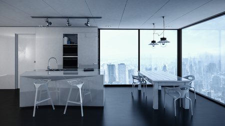 condominium: 3d rendering of condominium kitchen interior with track lighting, white tables and chairs. City in background through windows. Stock Photo