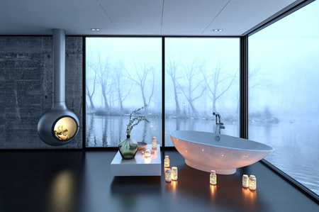 3d rendering of bathtub, fireplace and candles in luxury bathroom with large fogged up windows and trees in background