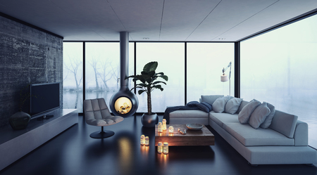 3d rendering of little fireplace hanging from ceiling in fancy living room. Television and trees through window in background.