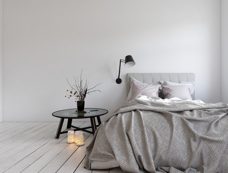 3D render of unmade bed in room with blank wall and candles on hardwood white colored floor Archivio Fotografico