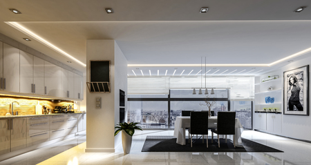 3D rendering of spacious kitchen dining room combo with track lighting and white tiled floor