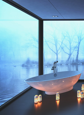 freestanding: Warm cozy modern bathroom with glowing candles surrounding a freestanding bot-shaped bathtub on a corner with wrap around view windows overlooking misty water in winter, 3d render