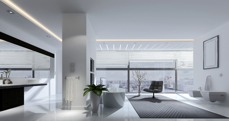 wide: 3D rendering of spacious living room with track lighting, mirrors and chair in front of large window
